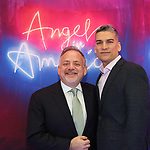 """Marc Shaiman and Louis Mirabal attends the Broadway Opening Night Arrivals for """"Angels In America"""" - Part One and Part Two at the Neil Simon Theatre on March 25, 2018 in New York City."""