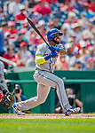 29 April 2017: New York Mets infielder Jose Reyes singles to lead off the 5th inning against the Washington Nationals at Nationals Park in Washington, DC. The Mets defeated the Nationals 5-3 to take the second game of their 3-game weekend series. Mandatory Credit: Ed Wolfstein Photo *** RAW (NEF) Image File Available ***