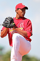 St. Louis Cardinals pitcher Carlos Martinez #41 in the bullpen during minor league spring training practice at the Roger Dean Sports Complex on March 28, 2012 in Jupiter, Florida.  (Mike Janes/Four Seam Images)