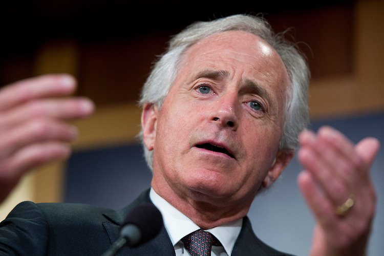 UNITED STATES - MAY 7: Sens. Bob Corker, R-Tenn., conducts a news conference in the Capitol's Senate studio after the Senate passed the Iran Nuclear Review Act, May 7, 2015. (Photo By Tom Williams/CQ Roll Call)