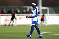 Alex Akrofi of Aveley celebrates the victory after Aveley vs Chelmsford City, Buildbase FA Trophy Football at Parkside on 8th February 2020