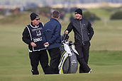 5th October 2017, The Old Course, St Andrews, Scotland; Alfred Dunhill Links Championship, first round; Jamie Donaldson of Wales smiles and he chats to his caddie during the first round at the Alfred Dunhill Links Championship on the Old Course, St Andrews