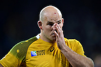 Stephen Moore of Australia looks dejected after the match. Rugby World Cup Final between New Zealand and Australia on October 31, 2015 at Twickenham Stadium in London, England. Photo by: Patrick Khachfe / Onside Images