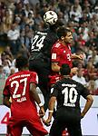 12.08.2018, Commerzbank - Arena, Frankfurt, GER, Supercup, Eintracht Frankfurt vs FC Bayern M&uuml;nchen , <br />DFL REGULATIONS PROHIBIT ANY USE OF PHOTOGRAPHS AS IMAGE SEQUENCES AND/OR QUASI-VIDEO.<br />im Bild<br />Danny Da Costa (Frankfurt), Javi Mart&iacute;nez (M&uuml;nchen), David Alaba (M&uuml;nchen), Marco Fabian (Frankfurt)<br /> <br /> Foto &copy; nordphoto / Bratic