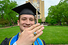May 19, 2019; Kevin Marks wears a 1953 class ring owned by his grandfather Alfred Marks following the 2019 Commencement. (Photo by Matt Cashore/University of Notre Dame)