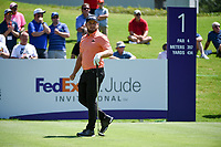 Tyrrell Hatton (ENG) on the 1st tee during the 1st round at the WGC Fedex, TPC Southwinds, Memphis, Tennessee, USA. 25/07/2019.<br /> Picture Ken Murray / Golffile.ie<br /> <br /> All photo usage must carry mandatory copyright credit (© Golffile | Ken Murray)