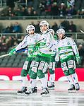 Stockholm 2015-03-14 Bandy SM-final herrar Sandvikens AIK - V&auml;ster&aring;s SK :  <br /> V&auml;ster&aring;s Jonas Nilsson firar sitt 4-1 m&aring;l med lagkamrater under matchen mellan Sandvikens AIK och V&auml;ster&aring;s SK <br /> (Foto: Kenta J&ouml;nsson) Nyckelord:  SM SM-final final Bandyfinal Bandyfinalen herr herrar VSK V&auml;ster&aring;s SAIK Sandviken jubel gl&auml;dje lycka glad happy