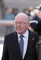 Former Quebec Premier Bernard Landry<br /> <br /> attend<br /> the funerals of Jean Lapierre, former politician and media,<br />  April 16, 2016 in Outremont.<br /> <br /> Photo : Pierre Roussel - Agence Quebec Presse<br /> <br /> <br /> <br /> <br /> <br /> <br /> <br /> <br /> .