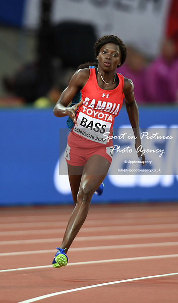 Gina BASS (GAM) in the womens 200m heats. IAAF world athletics championships. London Olympic stadium. Queen Elizabeth Olympic park. Stratford. London. UK. 08/08/2017. ~ MANDATORY CREDIT Garry Bowden/SIPPA - NO UNAUTHORISED USE - +44 7837 394578