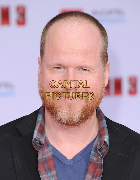 "Joss Whedon.""Iron Man 3"" World Premiere held at the El Capitan Theatre, Hollywood, California, USA.                                                  .April 24th, 2013.headshot portrait black blue red shirt check beard facia hair.CAP/DVS.©DVS/Capital Pictures"