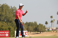 Thorbjorn Olesen (DEN) sinks his putt on the 5th green during Friday's Round 3 of the Commercial Bank Qatar Masters 2013 at Doha Golf Club, Doha, Qatar 25th January 2013 .Photo Eoin Clarke/www.golffile.ie