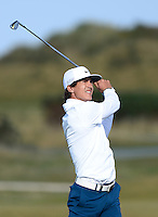 Thorbjorn Olesen of Denmark hits an approach during Round 3 of the 2015 Alfred Dunhill Links Championship at the Old Course, St Andrews, in Fife, Scotland on 3/10/15.<br /> Picture: Richard Martin-Roberts | Golffile
