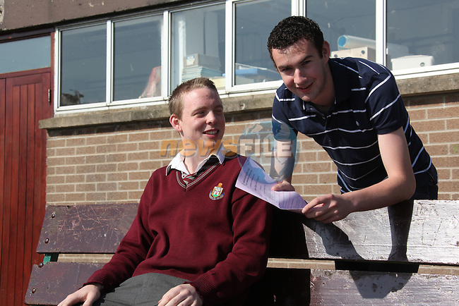 St Olivers community College in Drogheda.Leaving cert students Ben Baxter and Seamus Byrne who received the Leaving cert English paper two by mistake..Pic Fran Caffrey/newsfile.ie