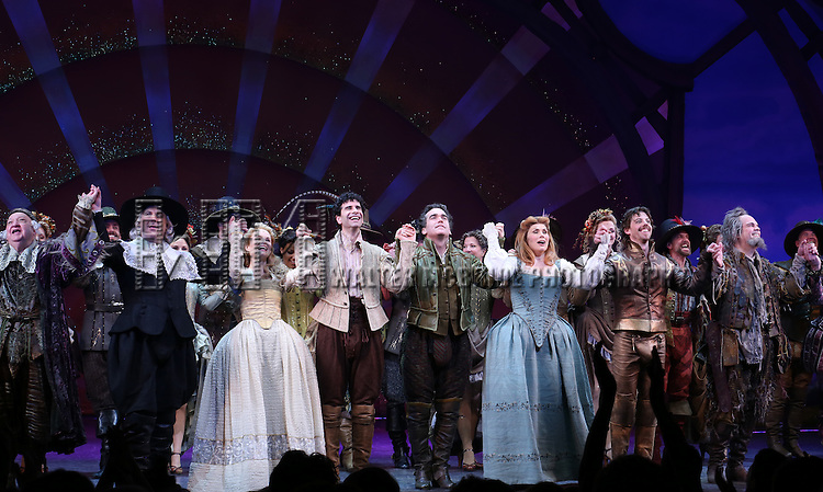 Gerry Vichi, Brooks Ashmanskas, Kate Reinders, John Cariani, Brian d'Arcy James, Heidi Blickenstaff, Christian Borle, Brad Oscar and Peter Bartlett during the Broadway Opening Night Curtain Call for 'Something Rotten' at the St. James Theatre on April 22, 2015 in New York City.