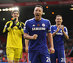 John Terry of Chelsea leads the celebrations  - Barclays Premier League - Liverpool vs Chelsea - Anfield Stadium - Liverpool - England - 8th November 2014  - Picture Simon Bellis/Sportimage