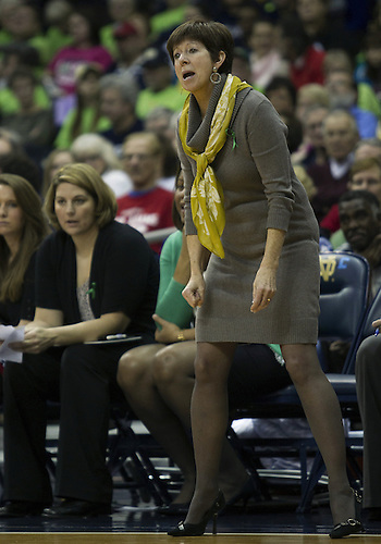 December 29, 2012:  Notre Dame head coach Muffet McGraw during NCAA Women's Basketball game action between the Notre Dame Fighting Irish and the Purdue Boilermakers at Purcell Pavilion at the Joyce Center in South Bend, Indiana.  Notre Dame defeated Purdue 74-47.