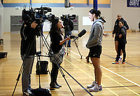 14.07.2014 Jodi Brown at the Silver Ferns train in Auckland ahead of them leaving for the Commonwealth Games. Mandatory Photo Credit ©Michael Bradley.