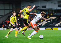 Blackpool's Armand Gnanduillet vies for possession with Burton Albion's Colin Daniel<br /> <br /> Photographer Chris Vaughan/CameraSport<br /> <br /> The EFL Sky Bet League One - Burton Albion v Blackpool - Saturday 16th March 2019 - Pirelli Stadium - Burton upon Trent<br /> <br /> World Copyright &copy; 2019 CameraSport. All rights reserved. 43 Linden Ave. Countesthorpe. Leicester. England. LE8 5PG - Tel: +44 (0) 116 277 4147 - admin@camerasport.com - www.camerasport.com