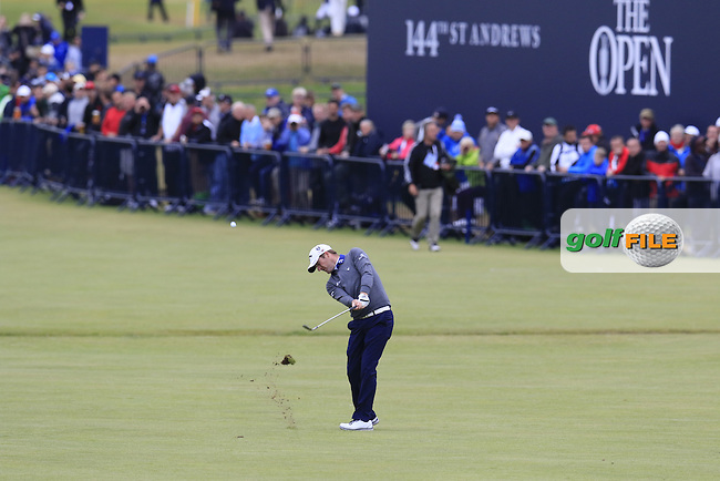 Marc WARREN (SCO) plays his 2nd shot on the 18th green during Sunday's Round 3 of the 144th Open Championship, St Andrews Old Course, St Andrews, Fife, Scotland. 19/07/2015.<br /> Picture Eoin Clarke, www.golffile.ie