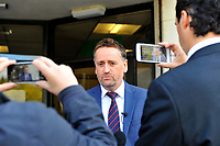Pictured: DCI Darren George of South Wales police reads a statement on behalf of the family of John 'Jack' Williams, outside Swansea Crown Court, in Wales, UK. Thursday 01 November 2018<br /> Re: Jonathan Donne, a convicted killer who murdered 67 year old John 'Jack' Williams after robbing him in his own home has been jailed for life by Swansea Crown Court.<br /> Donne, 42, from Swansea, was found guilty of the robbery and murder.<br /> Mr Williams was tied up and battered in the living room of his Swansea home in March 2018 because Donne thought he had a large quantity of drugs and money.<br /> He was told he must serve at least 31 years before he can be released from prison.<br /> He was also given a 15 year sentence for robbery, which will be served concurrently.<br /> Donne went to Mr Williams's house because he needed money where he hit and tied Mr Williams up, but insisted he was alive when he left.<br /> Mr Williams suffered serious brain and head injuries in the attack.<br /> The victim had been growing and selling cannabis and Donne thought he would have drugs and cash he could steal.