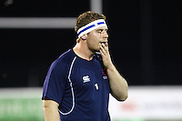 James Hallam of London Scottish warms up ahead of the Greene King IPA Championship match between London Scottish Football Club and Nottingham Rugby at Richmond Athletic Ground, Richmond, United Kingdom on 16 October 2015. Photo by David Horn.