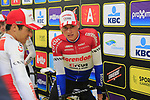 Dutch National Champion Mathieu Van Der Poel (NED) Corendon-Circus at the team presentation in Antwerp before the start of the 2019 Ronde Van Vlaanderen 270km from Antwerp to Oudenaarde, Belgium. 7th April 2019.<br /> Picture: Eoin Clarke | Cyclefile<br /> <br /> All photos usage must carry mandatory copyright credit (&copy; Cyclefile | Eoin Clarke)