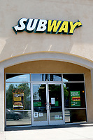 LOS ANGELES - APR 11:  Subway Resturant at the Businesses reacting to COVID-19 at the Hospitality Lane on April 11, 2020 in San Bernardino, CA