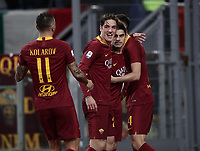 Football, Serie A: AS Roma - US Sassuolo, Olympic stadium, Rome, December 26, 2018. <br /> Roma's Diego Perotti (second from right) celebrates after scoring with his teammates during the Italian Serie A football match between Roma and Sassuolo at Rome's Olympic stadium, on December 26, 2018.<br /> UPDATE IMAGES PRESS/Isabella Bonotto