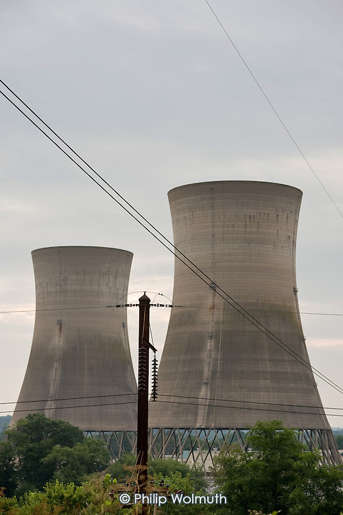 The disused cooling towers of Unit 2 of Three Mile Island Nuclear Generating Station, Pennsylvania.  The partial core meltdown in Unit 2 of the pressurized water reactor in 1979 was the worst accident in the history of American commercial nuclear power.  Although there were no immediate deaths or injuries to plant workers or members of the public,  the accident put an end to new nuclear construction in the US.