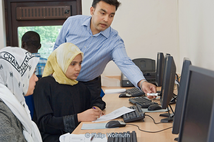 IT class at the Muslim Cultural Heritage Centre in North Kensington, London, part of the Youth Boost training programme for young people aged 16-19.