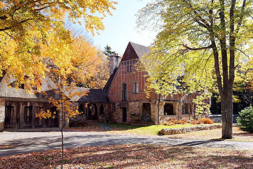 Jordan Pond Gatehouse surrounded by autumn foliage, Mount Desert Island, Acadia National Park, near Bar Harbor, Maine, USA