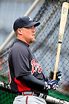 31 March 2011: Atlanta Braves third baseman Chipper Jones awaits his turn in the batting cage prior to the Opening Day festivities and game against the Washington Nationals at Nationals Park in Washington, District of Columbia. The Braves shut out the Nationals 2-0 to open the 2011 Major League Baseball season. Mandatory Credit: Ed Wolfstein Photo