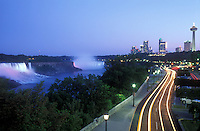 Canada, Ontario, Niagara Falls, wide angle view of the American Falls, Canadian Falls,Niagara River,Niagara Parkway, time exposure of traffic
