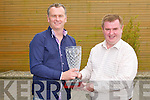 PRESENTATION: Dan Horan presenting Dáithí Ó Sé with a crystal vase for opening the new Dan Horan Health Food Store at Manor West shopping centre on Friday.