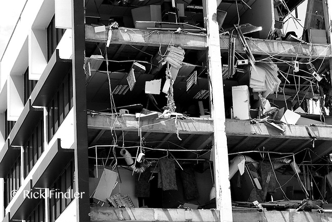 Office blocks in the Red Zone of Christchurch stand half demolished 11 months after the Christchurch earthquake which claimed 185 lives.