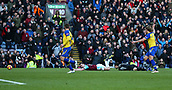 2nd February 2019, Turf Moor, Burnley, England; EPL Premier League football, Burnley versus Southampton; Ashley Barnes of Burnley falls to the floor after a challenge from Alex McCarthy the Southhampton goalkeeper and was booked for simulation