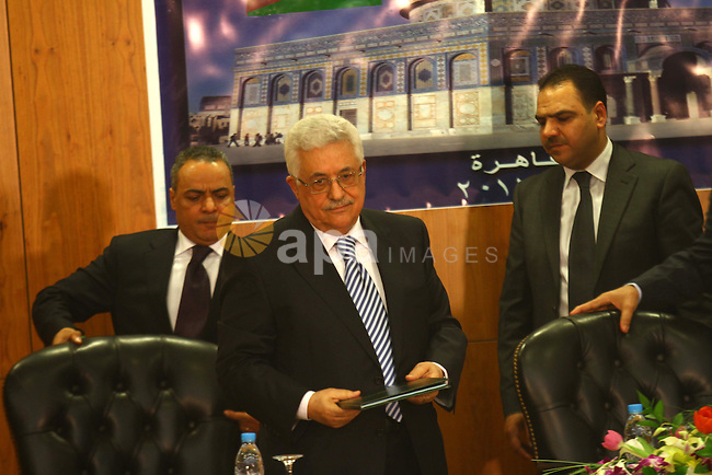 Palestinian President Mahmoud Abbas (Abu Mazen) attends the signing of reconciliation agreement in Cairo, Egypt on May 4,2011. Fatah and Hamas officials lead a ceremony celebrating the signing of a reconciliation deal intended to repair ties between the rival movements. Photo by Ashraf Amra