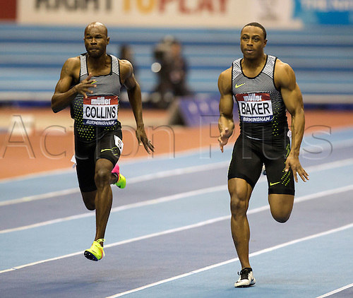 February 18th 2017,  Birmingham, Midlands, England; IAAF The Müller Indoor Grand Prix Athletics meeting; Kim Collins (SKN) (left) and Ronnie Baker (USA) (right) competing in the final of the Men's 60 Metres;