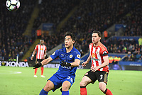 Shinji Okazaki of Leicester CityBryan Oviedo of Sunderland during the Premier League match between Leicester City v Sunderland played at King Power Stadium, Leicester on 4th April 2017.<br /> <br /> available via IPS Photo Agency only
