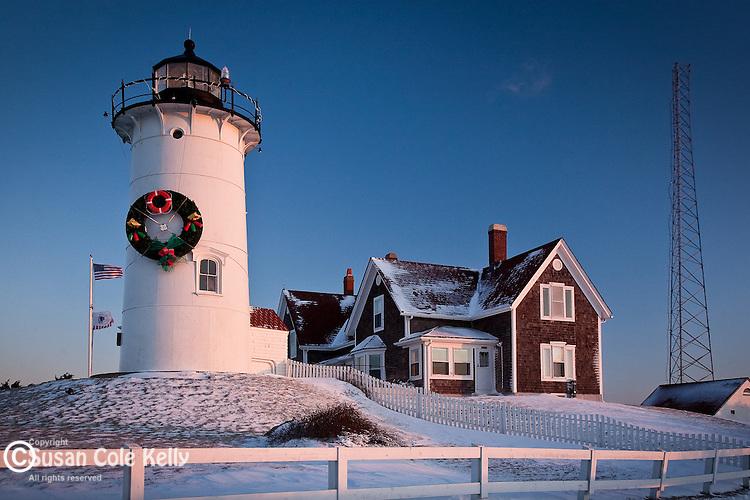 Nobska Lighthouse sunrise, Falmouth, Cape Cod,  MA, USA