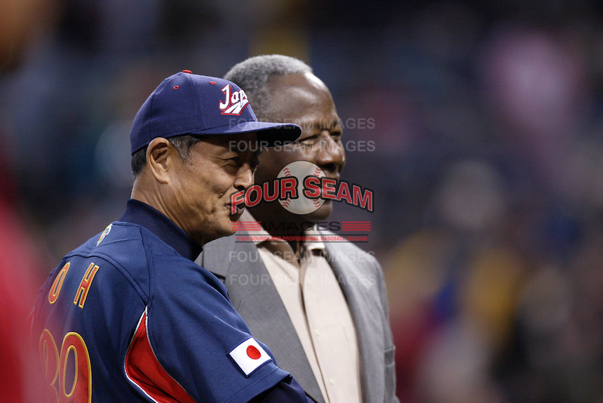 Manager of Japan, Sadaharu Oh and Henry Aaron during World Baseball Championship at Petco Park in San Diego,California on March 20, 2006. Photo by Larry Goren/Four Seam Images