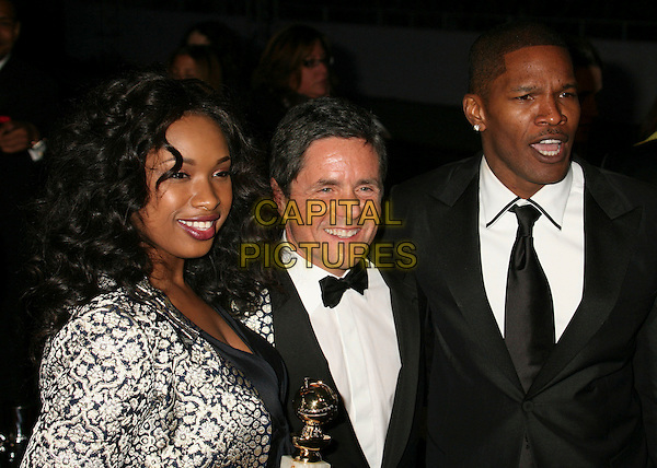 "JENNIFER HUDSON, BRAD GREY & JAMIE FOXX.Best Supporting Actress in a Motion Picture-Musical or Comedy for ""Dreamgirls,"".Paramount - DreamWorks Official Golden Globes After Party at The Beverly Hilton Hotel, Beverly Hills, California, USA..January 15t, 2007.headshot portrait black award trophy white pattern print coat suit jacket .CAP/ADM/BP.©Byron Purvis/AdMedia/Capital Pictures"