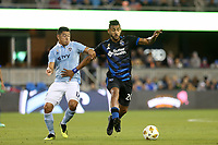 San Jose, CA - Saturday September 15, 2018: Anibal Godoy, Roger Espinoza during a Major League Soccer (MLS) match between the San Jose Earthquakes and Sporting Kansas City at Avaya Stadium.