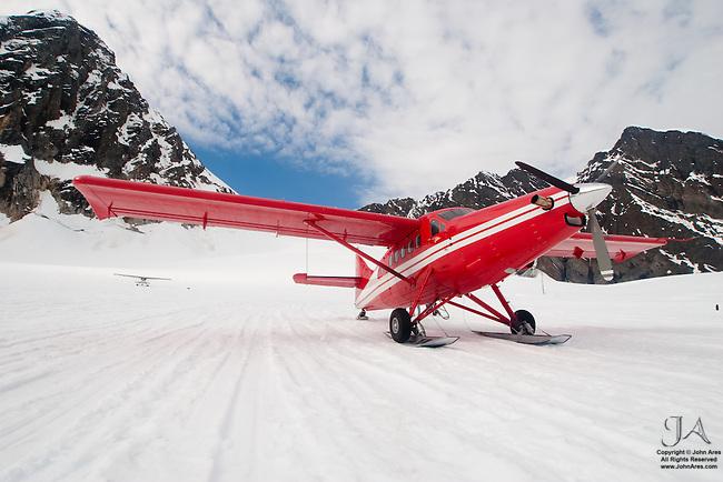 DeHavilland Turbine Otter Skiplane in Alaska, on Ruth Glacier near Mt McKinley