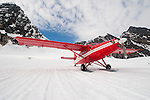 DeHavilland Turbine Otter Skiplane in Alaska, on Ruth Glacier near Mt McKinley
