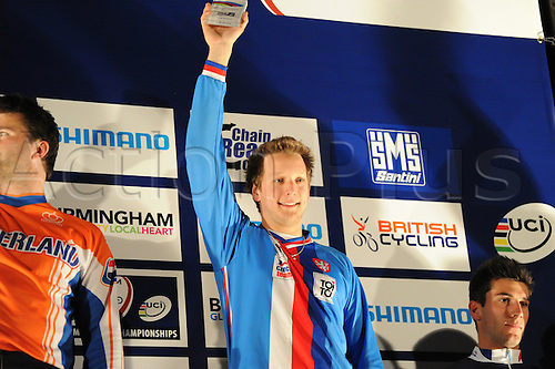 05.27.2012. England, Birmingham, National Indoor Arena. UCI BMX World Championships. Podium trio for the Cruisers Men 25 - 29 Finals at the NIA. ..Radim Sousedik (Czech Republic) 3rd....