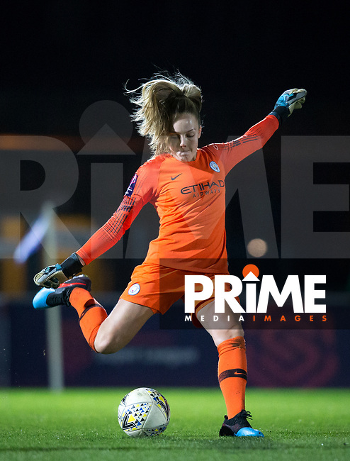 Goalkeeper Ellie Roebuck of Man City Women during the FAWSL match between Reading Women and Manchester City Women at Adams Park, High Wycombe, England on 13 March 2019. Photo by Andy Rowland.