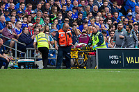 Ahmed Elmohamady of Aston Villa is stretchered off during the Sky Bet Championship match between Cardiff City and Aston Villa at the Cardiff City Stadium, Cardiff, Wales on 12 August 2017. Photo by Mark  Hawkins / PRiME Media Images.