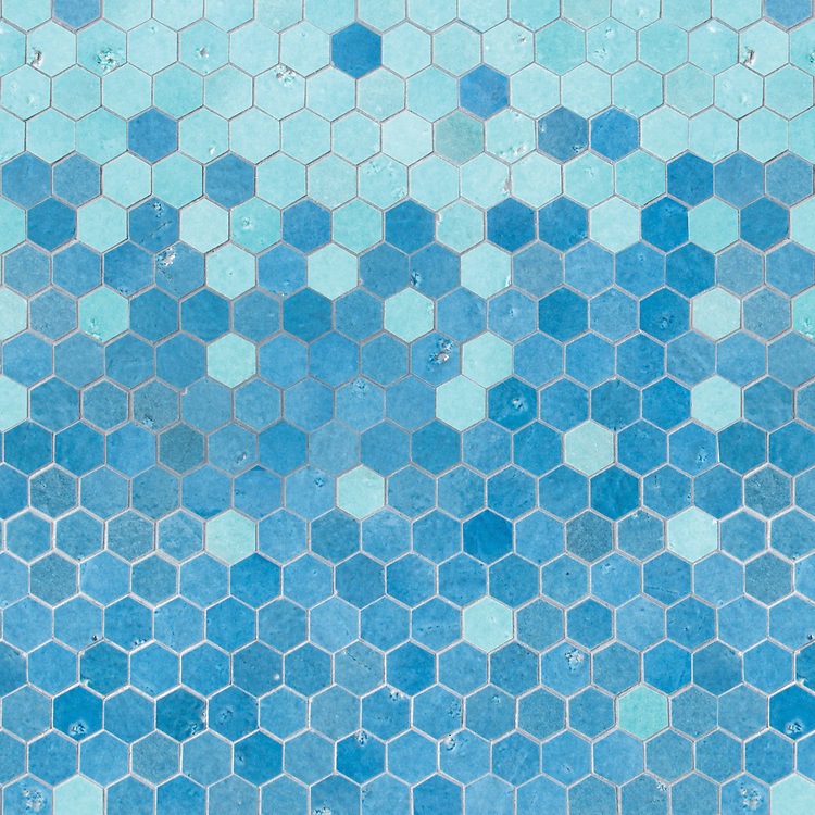 Huxley, a waterjet cut stone mosaic, shown in Cornflower and Hydrangea Basalto, is part of the Bright Young Things™ collection by New Ravenna.
