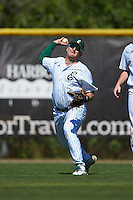 Eastern Michigan Eagles left fielder John Montgomery (44) throws the ball in during a game against the Dartmouth Big Green on February 25, 2017 at North Charlotte Regional Park in Port Charlotte, Florida.  Dartmouth defeated Eastern Michigan 8-4.  (Mike Janes/Four Seam Images)